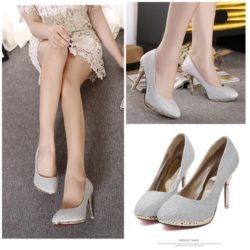SHH5112 MATERIAL PU COLOR SILVER HEEL 10CM SIZE 35
