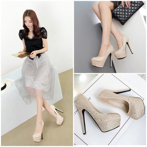 SHH5281 MATERIAL PU HEEL 14CM COLOR GOLD SIZE 35