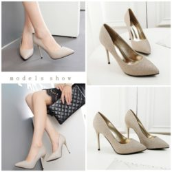 SHH779822 MATERIAL PU HEEL 10CM COLOR GOLD SIZE 35