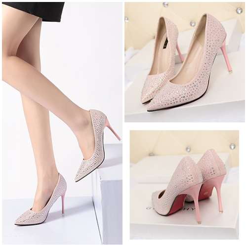SHH79882 MATERIAL PU COLOR PINK HEEL 9.5CM SIZE 36