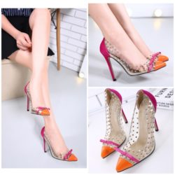 SHH8166 MATERIAL PU HEEL 11.5CM COLOR ORANGE SIZE 36