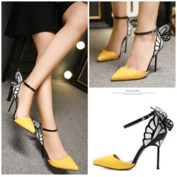 SHH81810 MATERIAL PU HEEL 10CM COLOR YELLOW SIZE 35