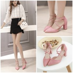 SHH9292 MATERIAL SUEDE HEEEL 7.5CM COLOR PINK SIZE 35