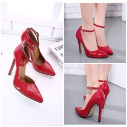 SHH9585 MATERIAL PU HEEL 11.5CM COLOR RED SIZE 35