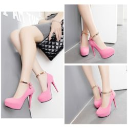 SHH9810  MATERIAL PU HEEL 12CM COLOR PINK SIZE 35