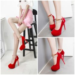 SHH9810  MATERIAL PU HEEL 12CM COLOR RED SIZE 35