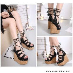 SHW1583 MATERIAL PU HEEL 16CM COLOR BLACK SIZE 35