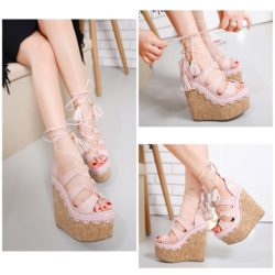SHW1583 MATERIAL PU HEEL 16CM COLOR PINK SIZE 35
