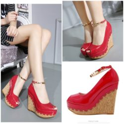 SHW6981 MATERIAL PU HEEL 11.5CM COLOR RED SIZE 35