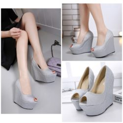 SHWI13936 DR.232.000 MATERIAL PU HEEL 12CM COLOR SILVER SIZE 35,36,37,38,39,40